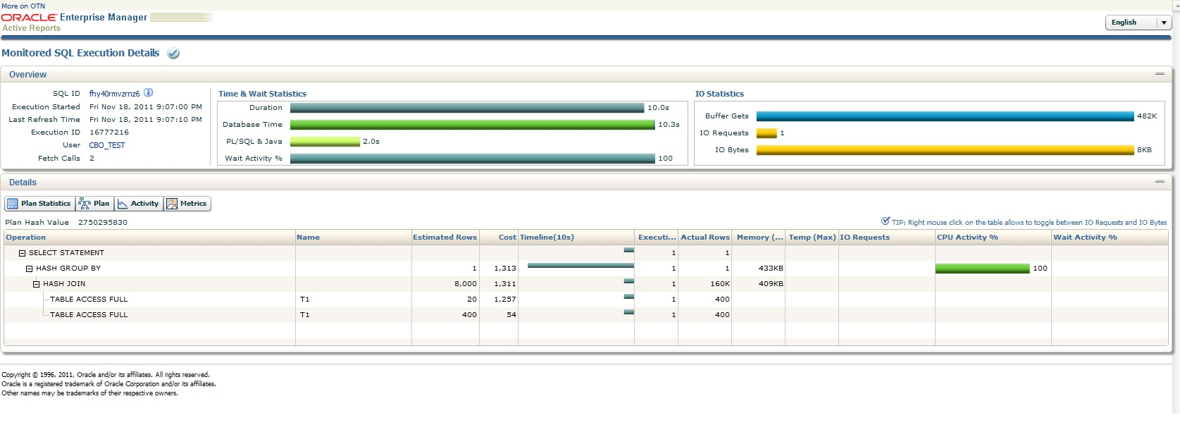 Sample Real Time SQL Monitoring Report